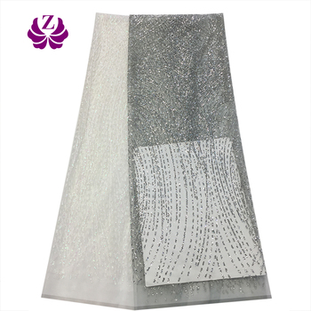 2019 New Fashion Elegant Gown Material Lace Dressing Patterned High Quality Sequined Lace Fabric for Daily Life Parties