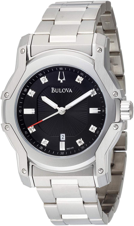 Bulova Men's 96D109 Diamond Black Dial Bracelet Watch