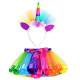 Little Girls Layered Rainbow Tutu Skirts with Unicorn Horn Headband Outfits for Birthday Kids Party 2 pcs
