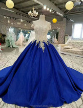 Off shoulder two color combined lace appliques big ball gown wedding puffy dress