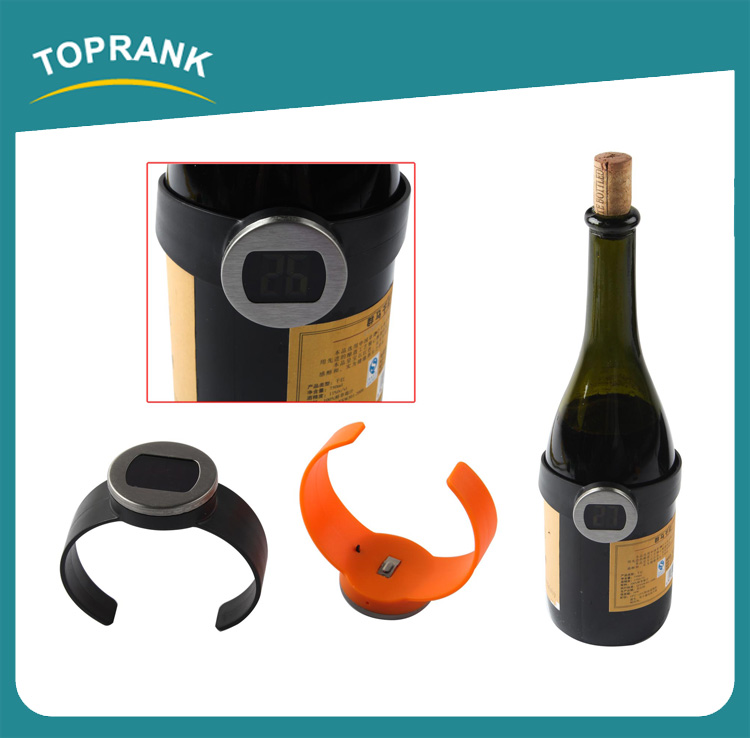 Toprank Wholesale Watch Design Electronic Wine Bottle Temperature Meter Digital Thermometer For Liquid With LCD Display