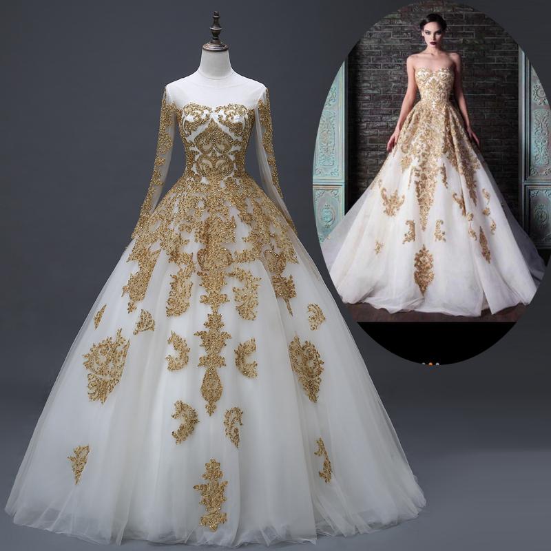 Wedding Dress White And Gold: Muslim-Bridal-Wedding-Dresses-Real-Photo-Gold-White-Long