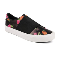 Pu flower printing no lace women casual loafers