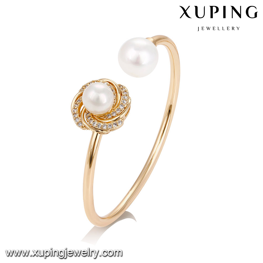 51739 Wholesale gold plated jewelry, fashion pearl bangle for women