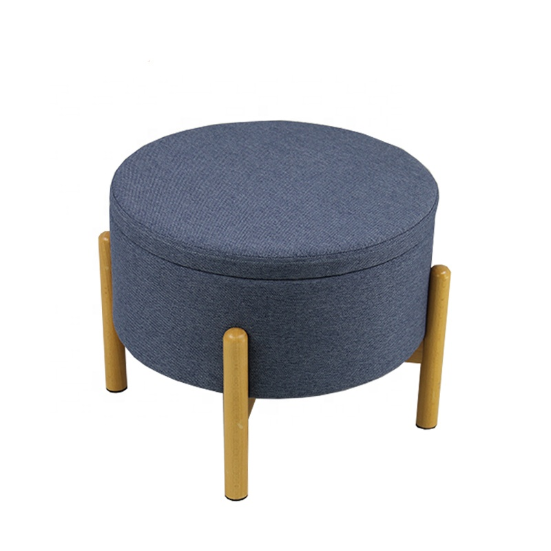 Ottoman Storage Stool coffee table with Wooden Legs
