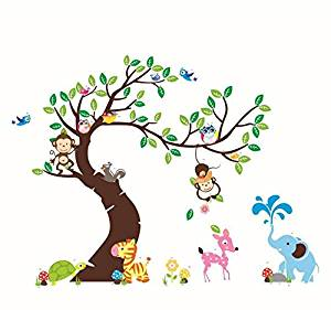 Reliable_E® Owl Animal Tree Removable Wall Sticker for Kids Room Nursery