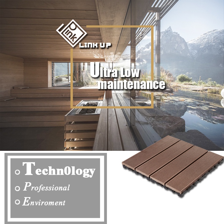 Waterproof exterior wood plastic composite decking with for Exterior timber decking