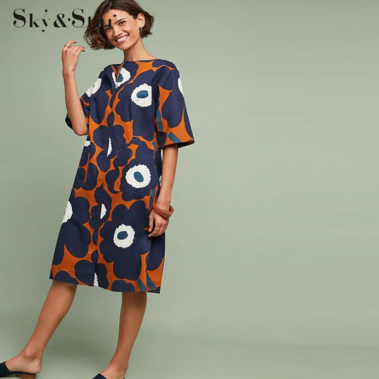 Alibaba.com / 2019 OEM wholesale fashion hot  women casual midi floral dress with flower  casual dress