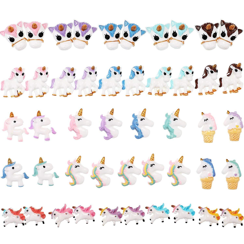 BBTO 47 Pieces Multi Color Unicorn Charm Handmade DIY Resin Unicorn Slime Charms Set for Kid Craft Making