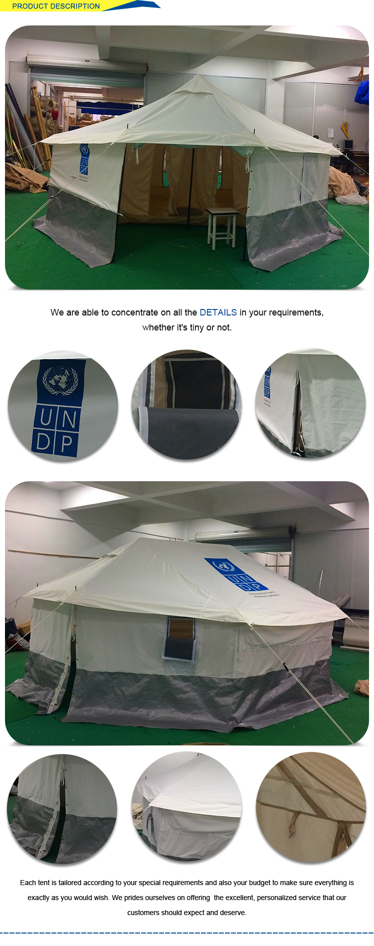 Solid reputation standard size relief tents 4.6x4m for sale