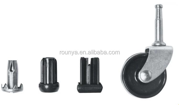 Single Black Castor Plastic Wheels 40mm Furniture Swivel Caster Wheel With  Socket
