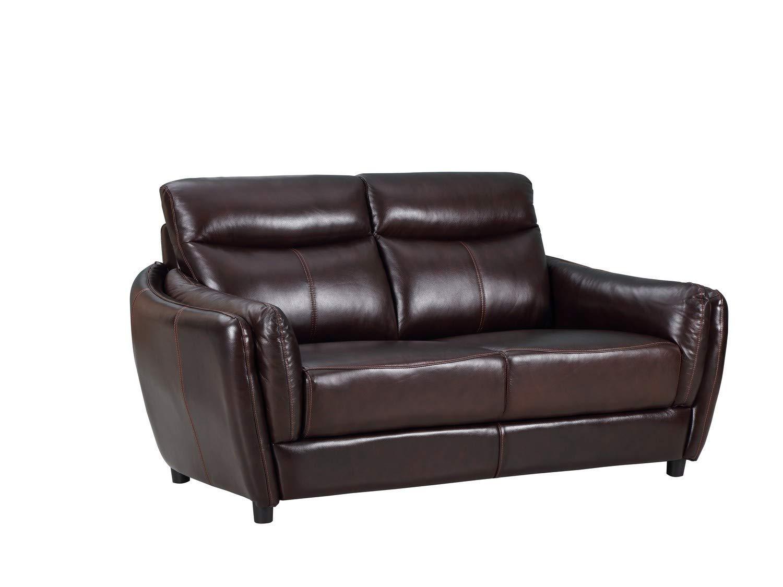"Blackjack Furniture 9778-BROWN-L Troy Classic Top Grain Leather Living Room Loveseat, 68"", Brown"