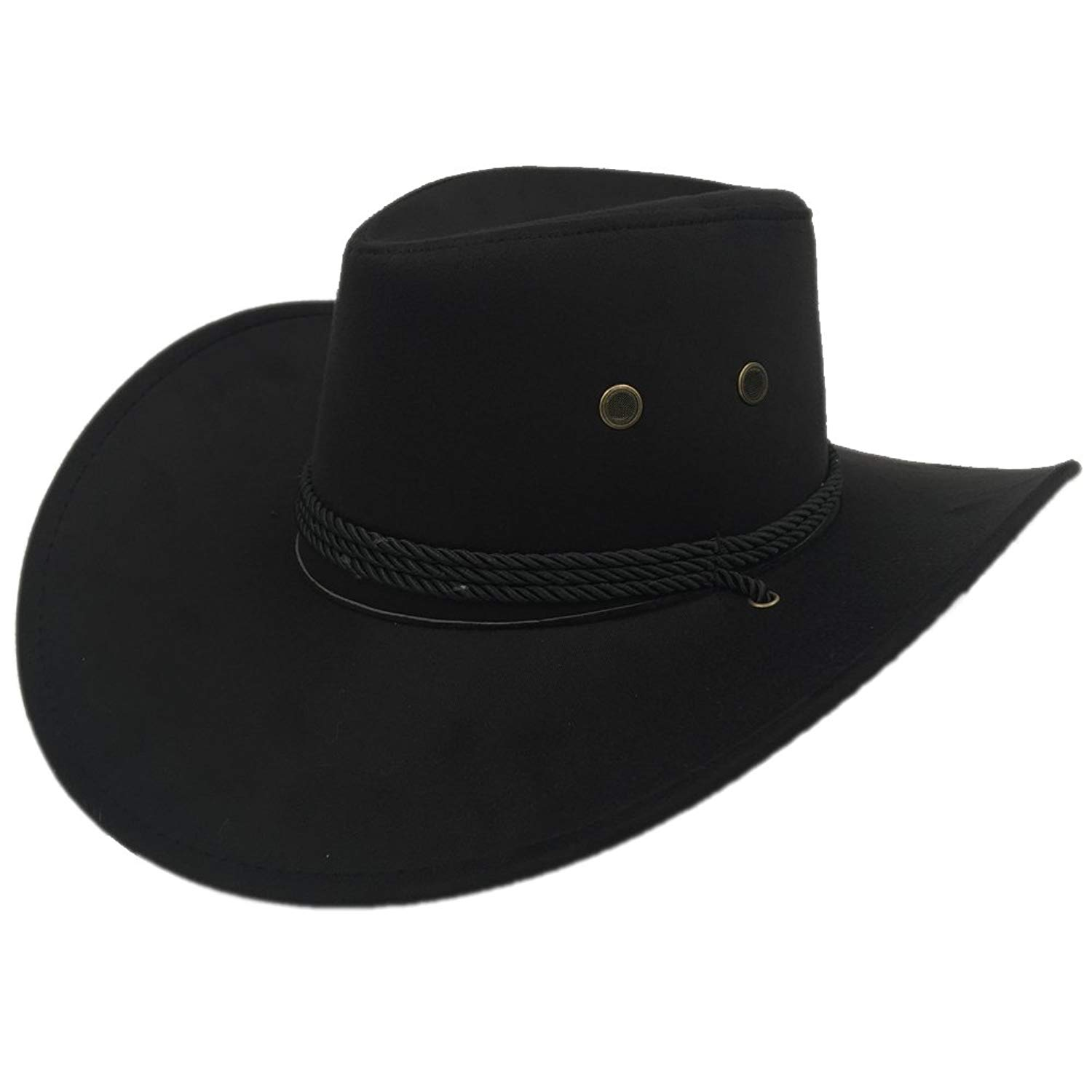 d0e4380f1983f Get Quotations · Sandy Ting Men s Outback Faux Felt Wide Brim Western  Cowboy Hat