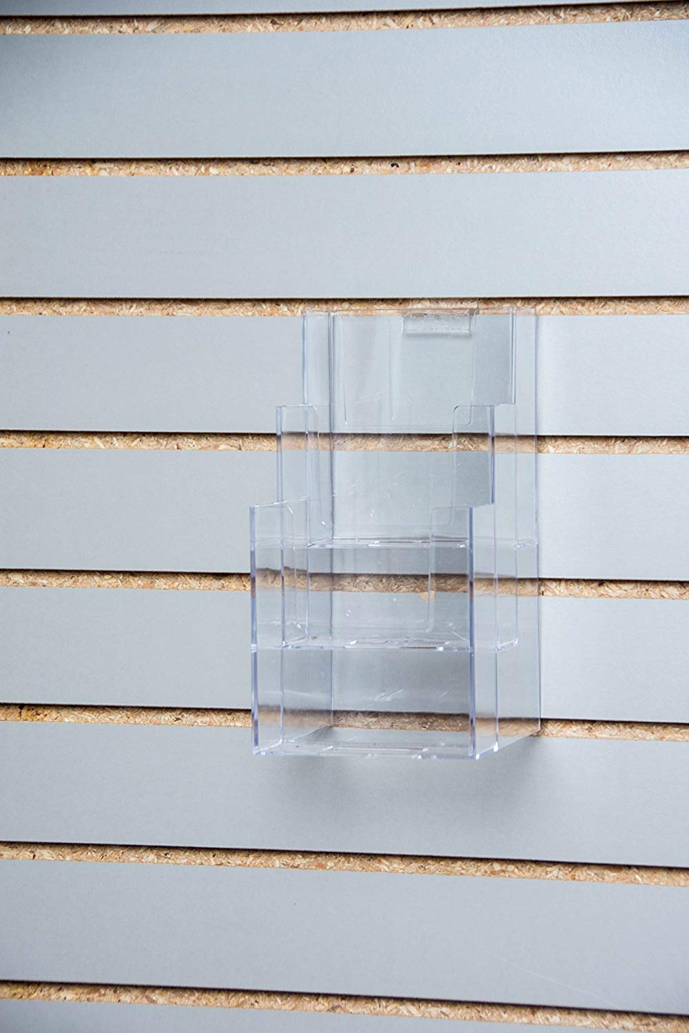 Clear-Ad - LHF-Z103 - Acrylic Upright 2 Tier Trifold Brochure Display with Z-bar for Slatwall - Plastic Literature Holder for Flyers, Booklets, Bills, Mail, Letters, Cards, Pamphlets, Maps (Pack of 2)