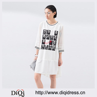 2016 Clothing New Arrival Printed Character Gentle Chiffon Three Quarter Sleeve Cotton Lace Casual Women Dresses