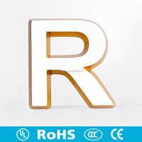 New fashion indoor lighted led sign mini acrylic letter 3d sign letters with bevel side for chain store sign name logo indoor