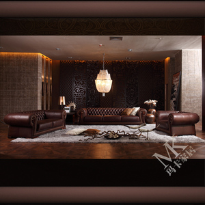 Factory Direct Sale Luxury Royal Design furniture Italian Import 100% Full Grain Leather sofa sets