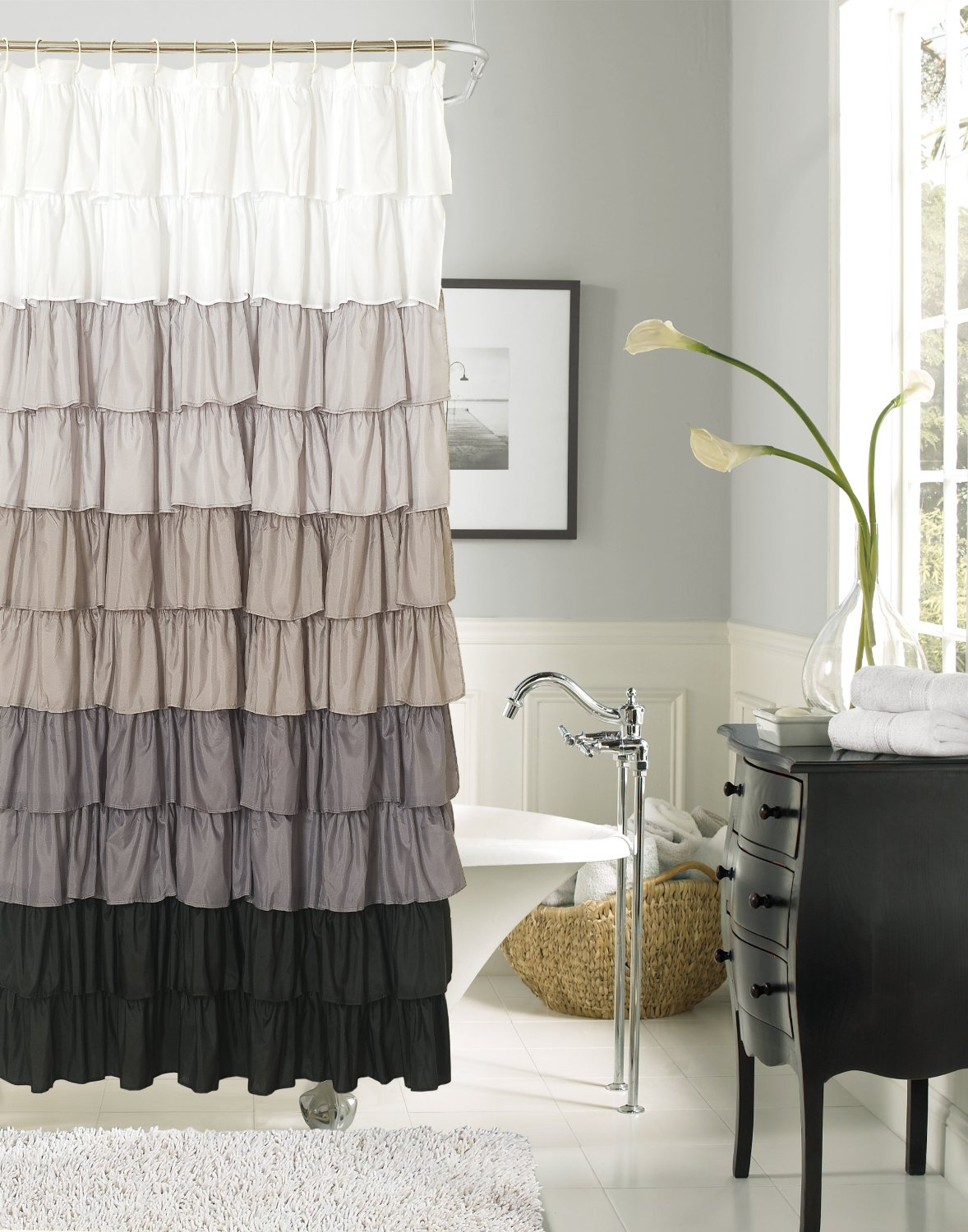 Get Quotations · Dainty Home Flamenco Ruffled Shower Curtain, 72 By  72 Inch, Black/White
