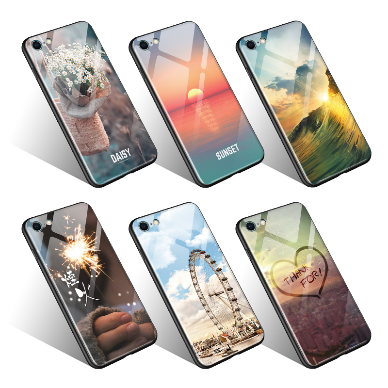 2018 Natural Scenery Tempered Glass Phone <strong>Cases</strong> For iphone 6 Sunset Daisy Flower Waves Glass Back Cover phone <strong>case</strong> for iphone X