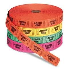-- Admit One Single Ticket Roll, Numbered, Assorted, 2000 Tickets/Roll
