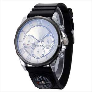 Foreign trade hot sell simple men compass three eyes quartz watch outdoor sports silicone band stainless steel watch