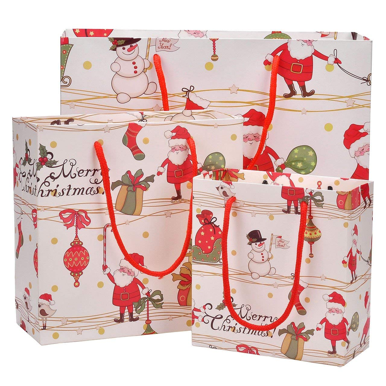 Christmas Gift Bags, Yoption 12 Pack Elegant Gift Bags With Handles Holiday Craft Bags Cartoon Candy Gift Bags (4*Small+4*Medium+4*Large)