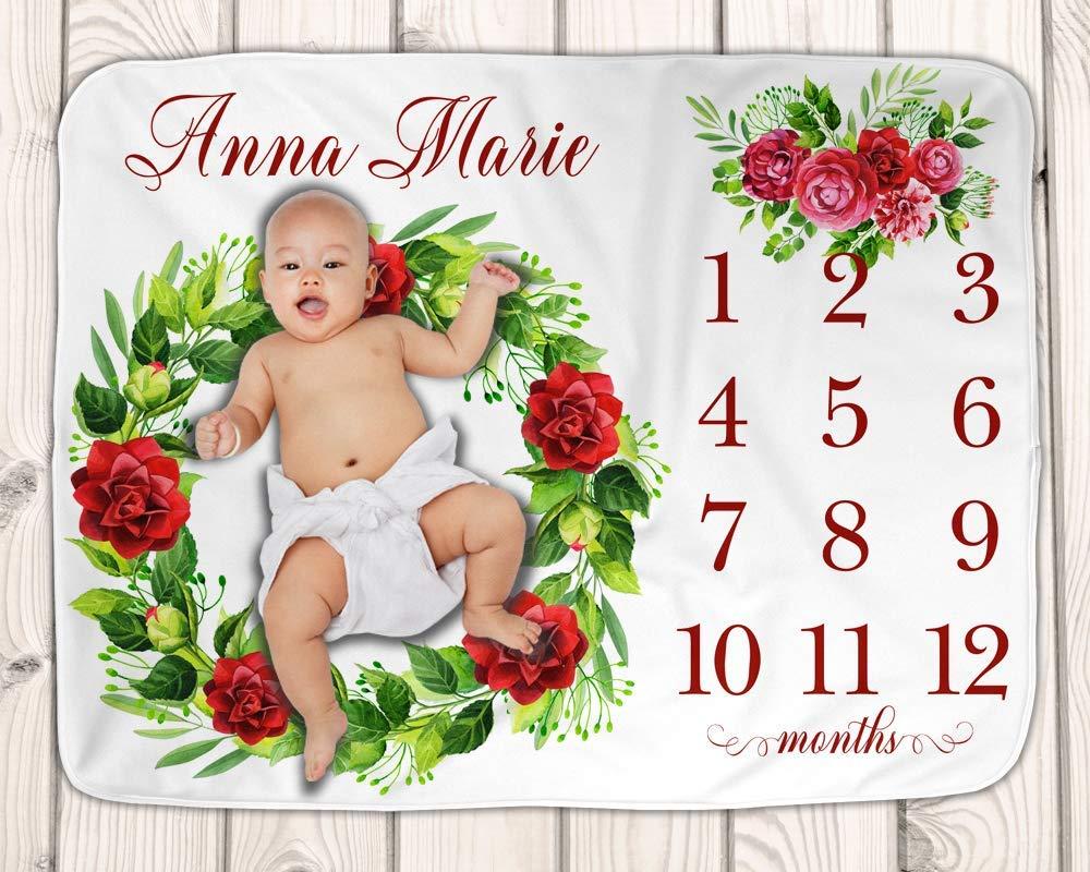 Baby Milestone Blanket Roses Keepsake Blanket Girl Baby Photo Prop Baby Shower Gift