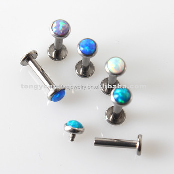 Internally Threaded Opal Jewelry Implant Grade Titanium Tragus Labret Piercing Buy Labret Piercing Jewelry Internally Threaded Labret Piercing