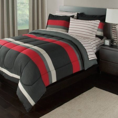 5 Piece Boys Twin Xl Rugby Stripes Bed in a Bag Comforter Set with Sheet Set, White Black Red Striped Pattern, Beautiful Colors