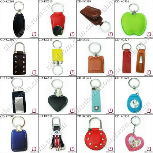 Plain Shield Shaped Metal leather Keychain CD-KC538