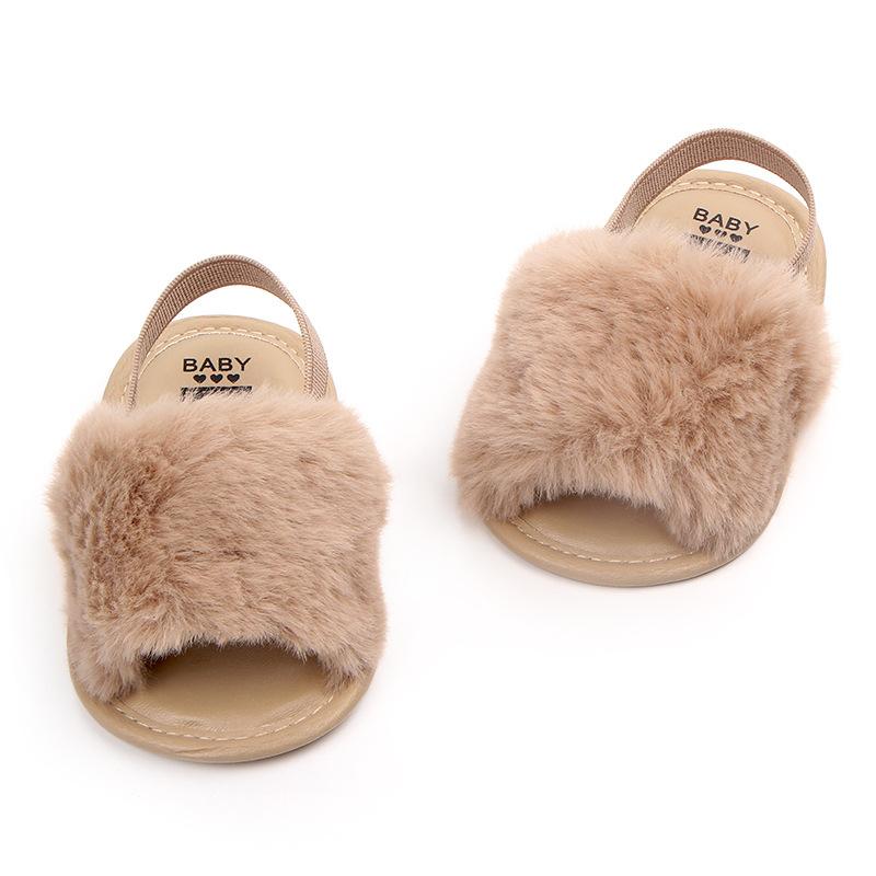 7788462bf Verano bebé mocasines Zapatos bebé recién nacido niñas peludas de peluche  suave sandalias de suela suave