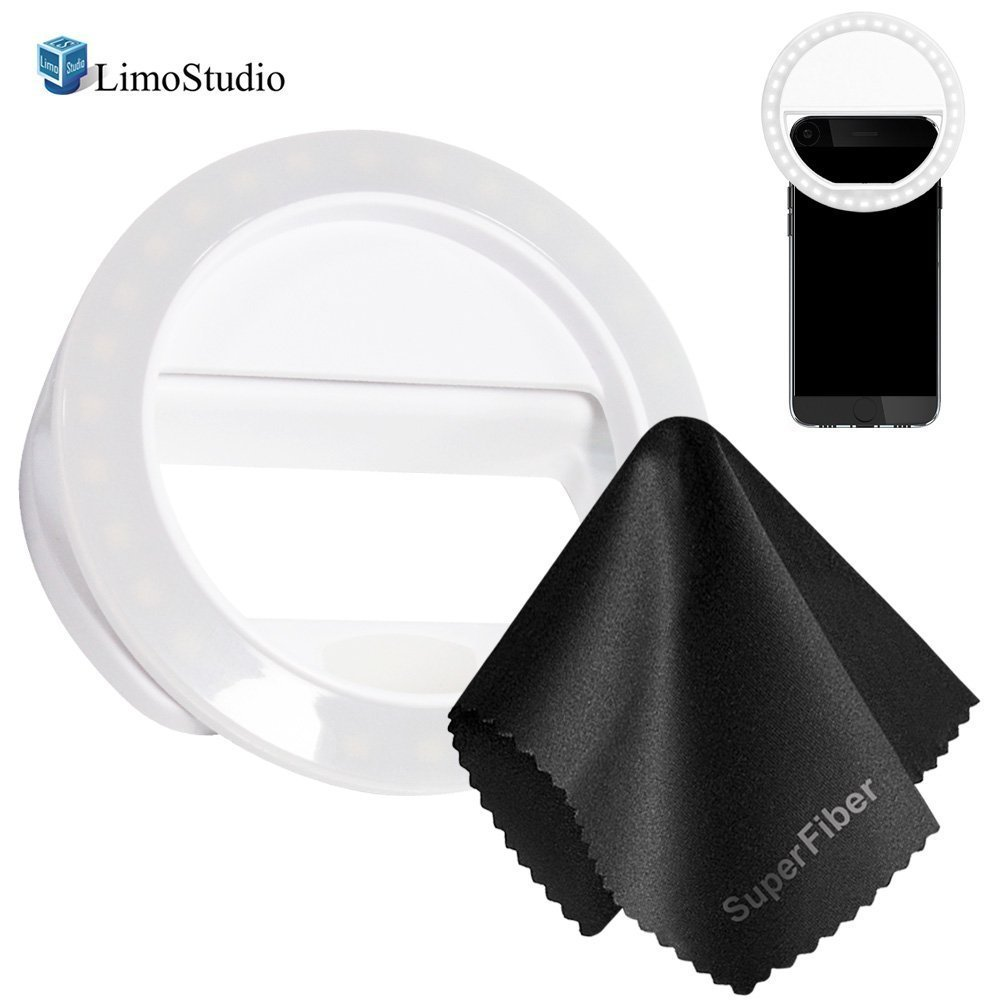 LimoStudio LED Selfie Ring Light for Smartphone Cell Phone with Black Cleaning Cloth, 36 LED, 3.5 Diameter, Level Brightness Control for iPhone, iPad, Samsung Galaxy, Photo Studio, AGG2123