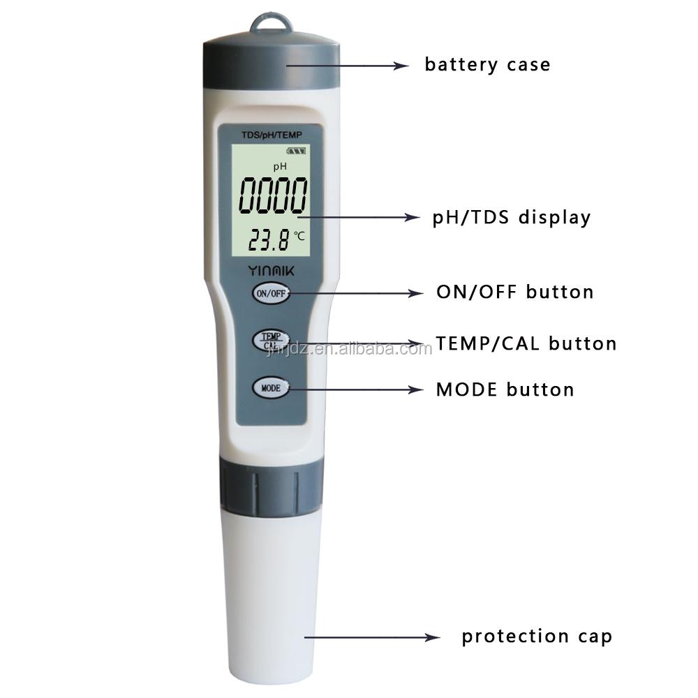 batterie poudre Digital ATC PH Mètre Eau Hydroponique Pen Aquarium Pool Testeur