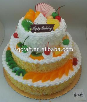 Custom Three Layers Plastic Birthday Cake Model With Fruits Decor