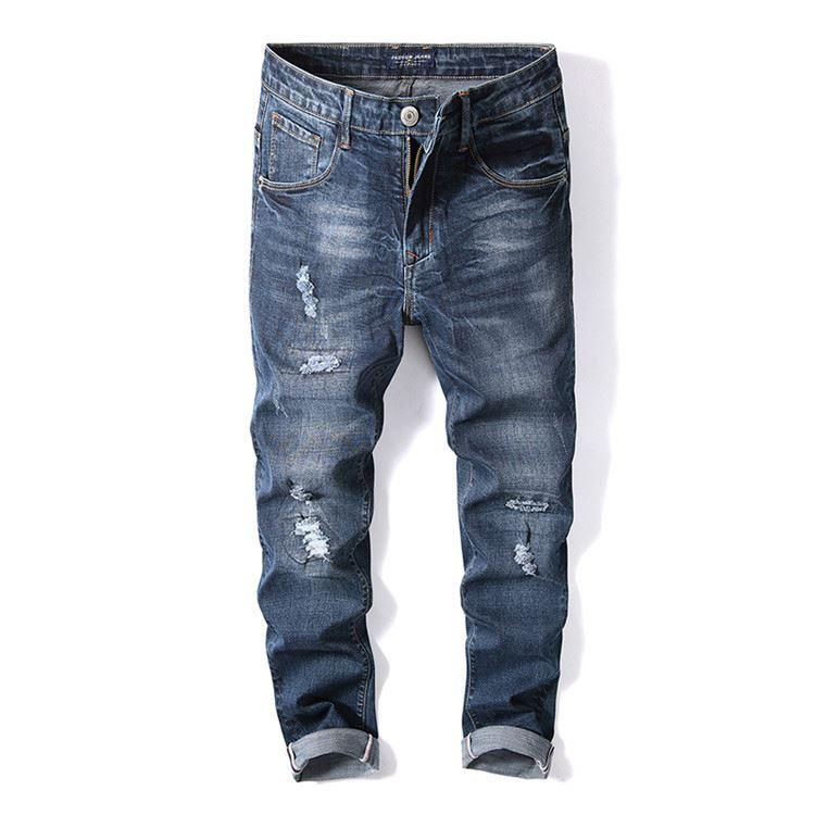 Handmade high - end fadeproof loose blue fashion men's pants фото