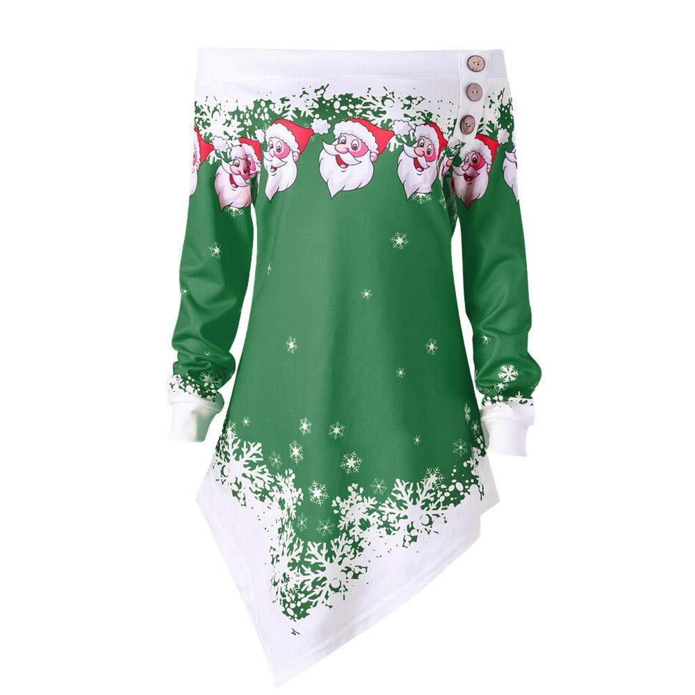 On Sale! Women Merry Christmas Tops,Vanvler Women Santa Snowflake Printed Off Shoulder Blouse Asymmetric Sweatshirt Clearance (S/US 6, Green)