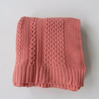 Pink cable textile soft knitted wrap organic baby blanket set