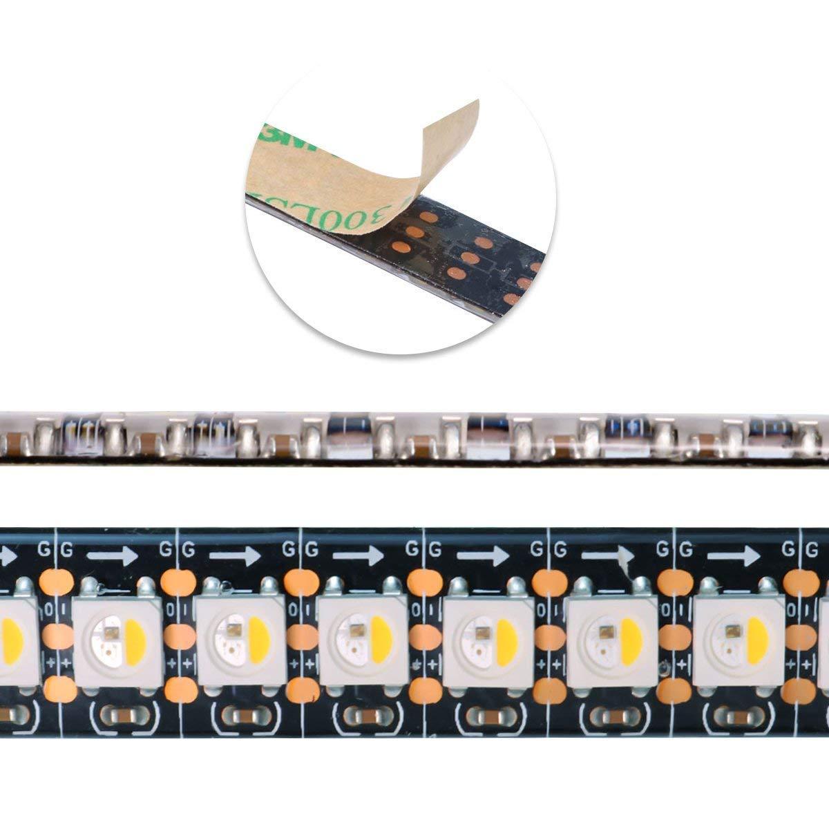 MOKUNGIT RGBW RGBWW RGB+Warm White SK6812 (Similar WS2812B) 3.3ft/1m 144leds/m Individually Addressable Flexible 4 color in 1 LED Dream Color LED Strip Black PCB Waterproof IP65 DC5V