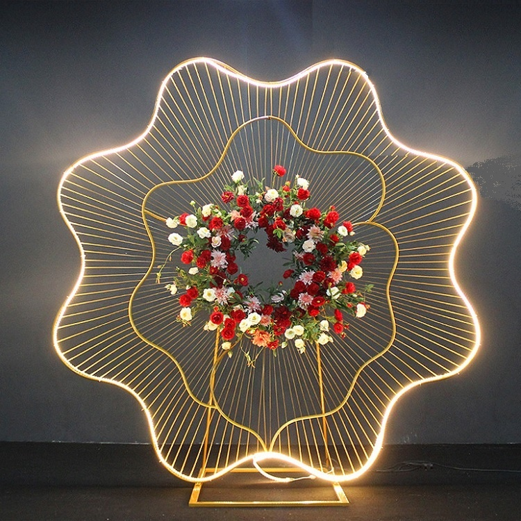 2018 New design LED iron art large flower event decoration, <strong>stage</strong> background