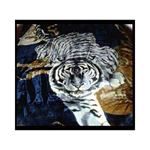 New Solaron Queen Size White Tiger Navy Korean Mink Blanket