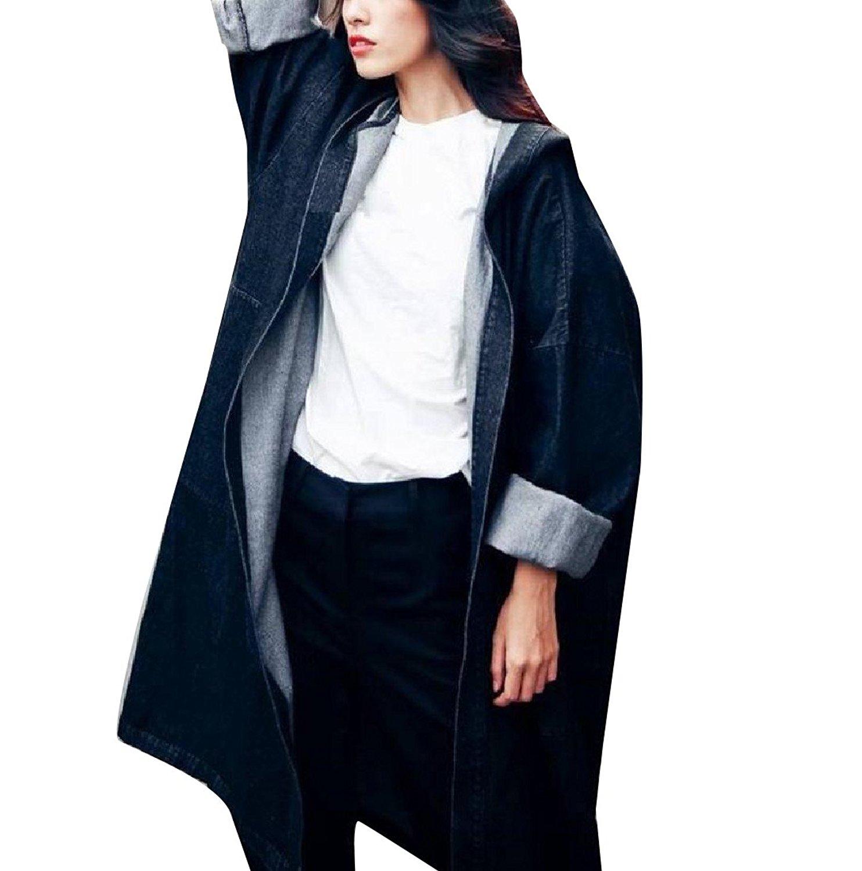 Zimaes-Women Long-Sleeve Hoode Loose Mid-long Denim Jacket Coat