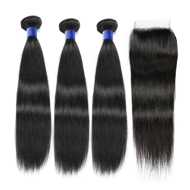 Top grade 10a high quality brazilian straight virgin hair,brazilian hair extension with closure, #1b or as your choice
