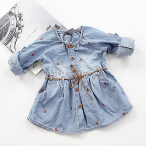 S30093W SWEET GIRL'S SOFT JEAN DRESS CHERRY EMBROIDERED DRESS WITH BELT