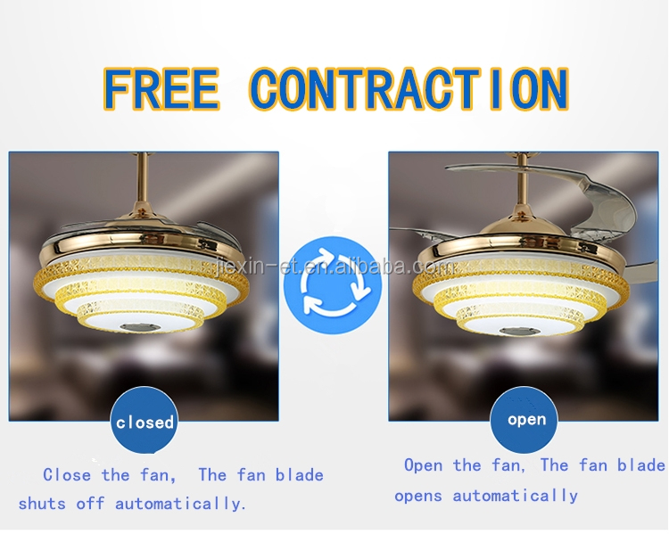Hidden Blades 220V air cooling electric powered 42inch ceiling fan light with remote control