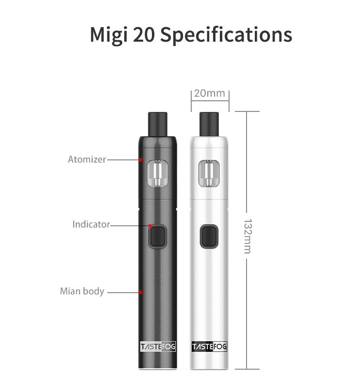 2019 Best Selling in Stock Tastefog MIGI 20 Pod Kit 1500 mah Built-in Battery