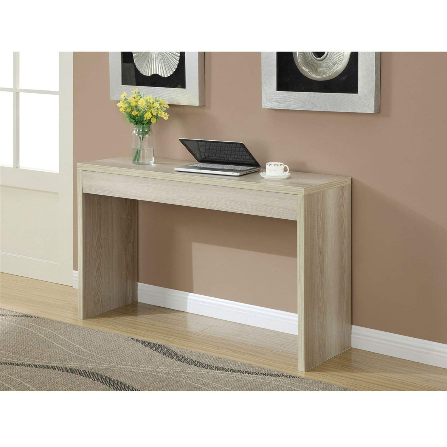 StarSun Depot Contemporary Sofa Table Console Table in Weathered White Wood Finish
