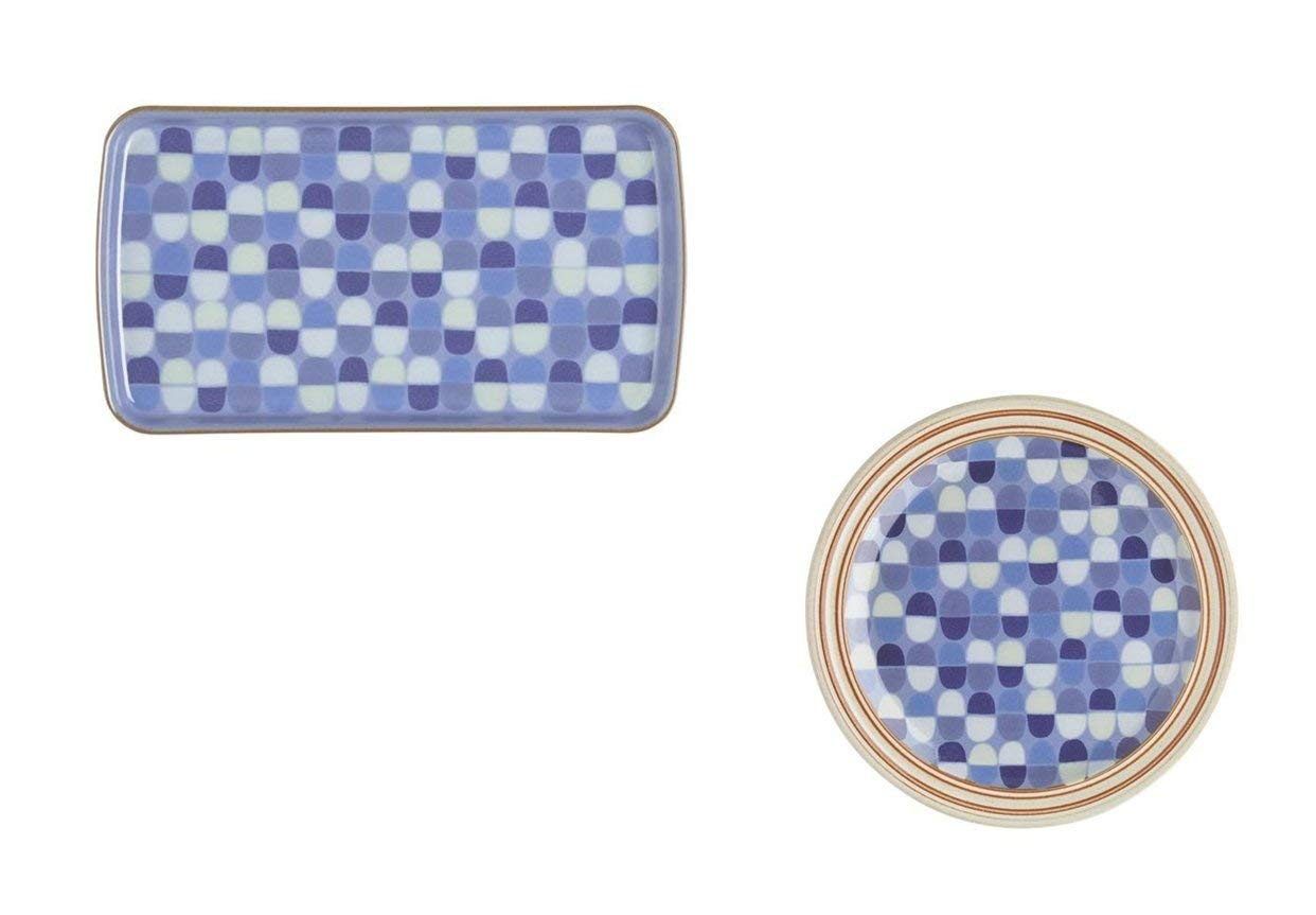 Denby Heritage Fountain Accent Rectangular Plate and Salad Plate, Set of 8