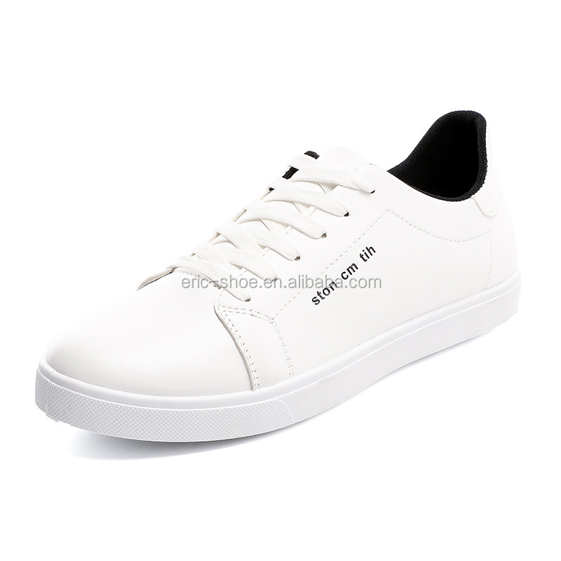 Fashion sneaker white <strong>shoes</strong> for men canvas lace-up