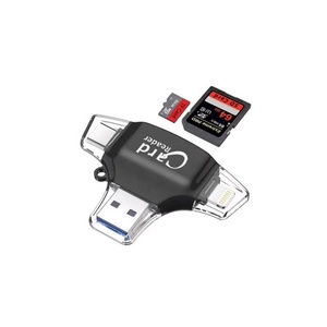 Card Reader SD Micro Memory Card Reader 4 in 1 Connectors USB Reader