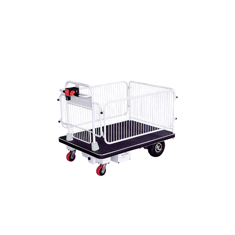 Warehousing Materials Handling electric platform cart with fence